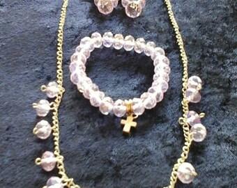 Pink crystal necklace, bracelet and earring set