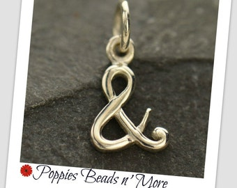 Sterling Silver, Ampersand Charm, Silver Letter Charm, Letter Charm, Silver Ampersand, Ampersand Jewelry, And Sign, Alphabet Charm