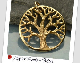 Natural Bronze Pendant with Textured Tree