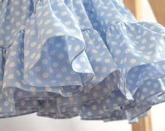 Girls' Dress, Polka dot Dress, Baby Blue dress, 100% Cotton