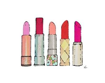 lipsticks print, digital download lipsticks, drawing of lipsticks, lipstick illustration, printable lipsticks, downloadable lipsticks, JPEG