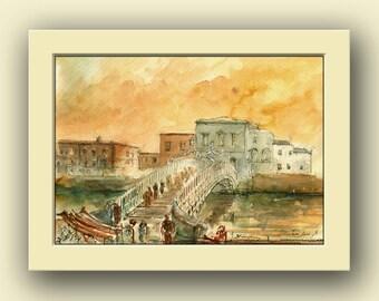 Dublin city - Ha penny bridge Ireland river city decor- Ireland original art wall -river cityscape- Original watercolor painting- Juan Bosco