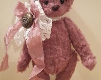 Miniature teddy bear Lenny - pink teddy bear - shabby teddy bear - home decor - interior - art