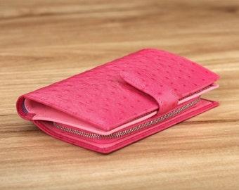 Beverly Medium Wallet - Pink Ostrich