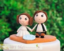 Star Wars Wedding Cake Topper with Stand / Princess Leia and Han Solo