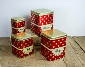 Soviet polka dot tin food canisters. Metal storing boxes / soviet retro kitchen decor. Russian design, made in USSR