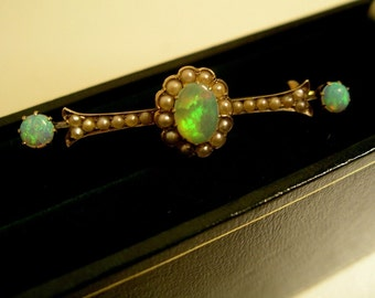 Edwardian Flash Opal 15K Gold and Pearl Brooch with valuation. Circa 1920's.
