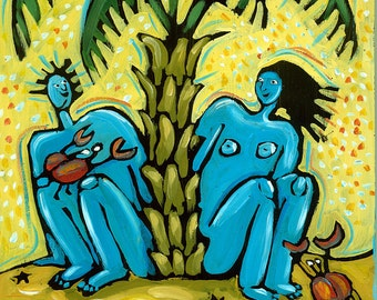 Blue People Series # 2. All alone on deserted island under palm tree on beach. 8 x 10 fantasy art print. FREE SHIPPING