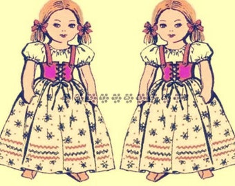 "Vintage Sewing Pattern to make a Cute 18""  Peasant Soft Body Girl Rag Doll with her Clothes by PDF Immediate Digital Download"