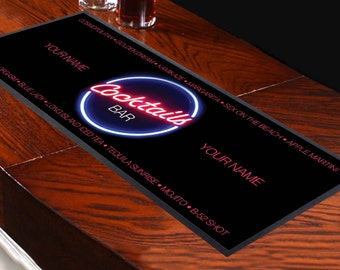 Personalised Bar Runner Cocktails Bar Perfect Bar Accessory Bar Mat Party Decoration