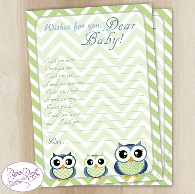 wishes for baby shower owl well wishes for by paperpartydesignus