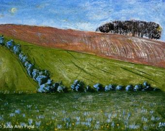 Original Landscape Black Trees against Moonlit Blue Sky Brown Ploughed Field Green Fields & Hedgerows 29 x 39 cm (41 x 51 cm in mount)