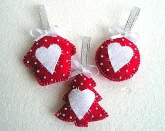 Christmas felt ornaments, Christmas tree ornaments, home decor, Felt Heart House tree, Set of 3 pieces