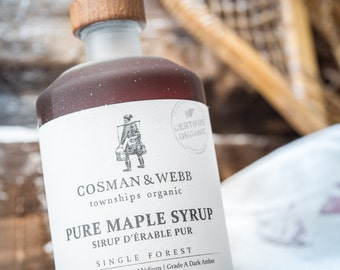 Organic, unblended, single forest maple syrup, packaged at our farm in the Eastern Townships of Southern Quebec.