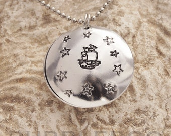 Pirate Ship Clamshell Hand Stamped Necklace