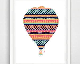 Nursery Decor, Hot Air Balloon Print, Printable Wall Art, Nursery Art, Instant Download, Colourful Nursery