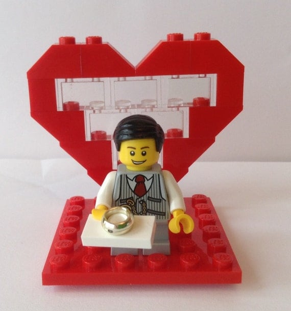 Wedding Ring Bearer/Page Boy/Usher Minifigure Red Heart and
