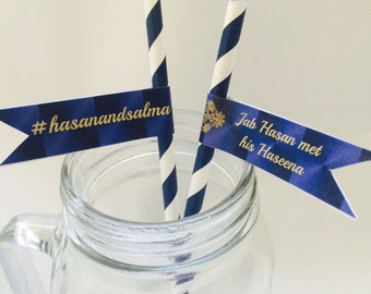 STRAW FLAGS ONLY, 24 Paper Straw flags, Personalized Straw, Wedding Straw, Custom Straws, Bridal Shower, Baby Shower Favor, 24 ct