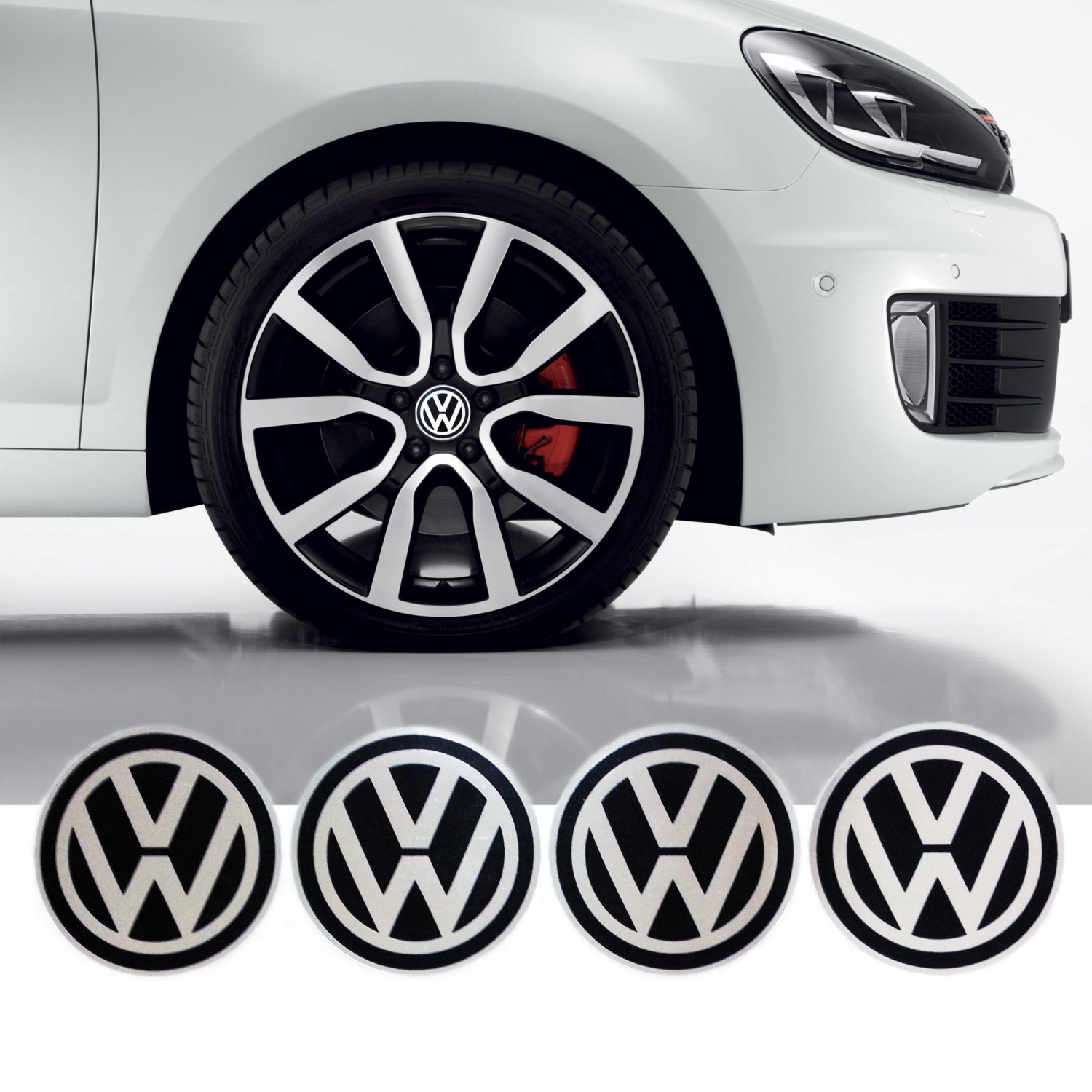 VW Volkswagen Wheel Center Caps Sticker Emblem by Peelandsticker