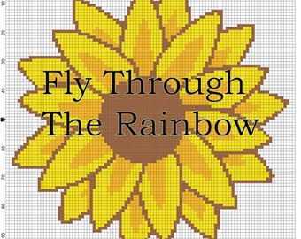 Sunflower crochet graph graphgan cross stitch