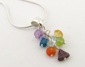 Chakra Jewelry Seven Gemstone Chakra Necklace Sterling Silver