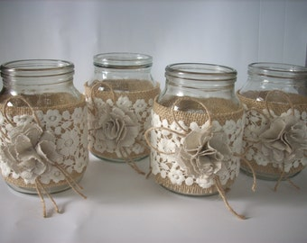 Rustic Wedding Burlap  Jar,Rustic wedding decor, Lace and burlap jar, burlap centerpiece, country home decor,wedding jars