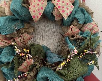 Blue Birdie Burlap Wreath