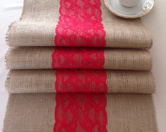 Natural Burlap/hessian and Red Lace Table Runner
