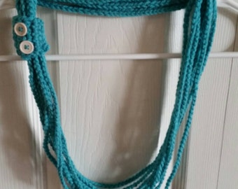 Crochet Necklace/Scarf in Teal/Handmade