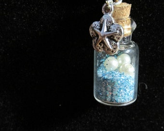 Starfish bottle necklace with pearls