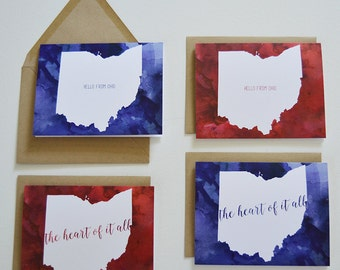 8 Watercolor Ohio folded notecards + envelopes