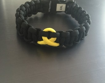 Support the Troops Black/Yellow Paracord Bracelet