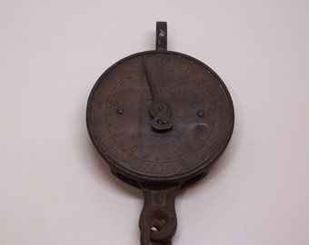 antique hanging scale, Salter's spring balance 50lb with hook hanger