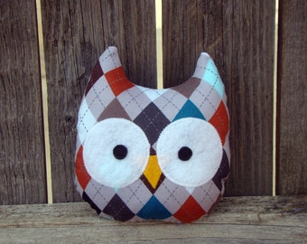 owl plush, stuffed owl, argyle, mini owl, gift