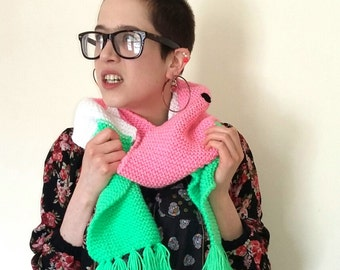 Watermelon Scarf. Pink, white and green hand knitted scarf
