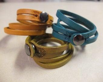 """Women's leather split-wrap bracelet, 5/8"""" wide - genuine leather handmade bracelet."""