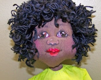 OOAK cloth art doll African American Lime green turquoise