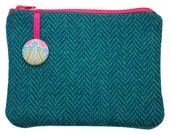 Harris Tweed Turquoise Purse with Liberty of London Ianthe Print Lining