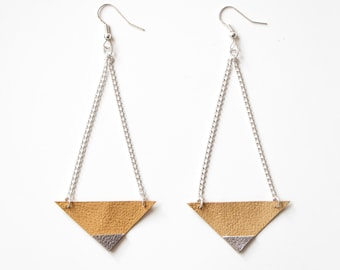 Emma Earrings // Pair of Silver Tipped Leather Triangle Dangle Earrings
