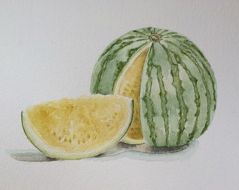 Original watercolor art of yellow watermelon , watercolor painting for kitchen art,still life painting