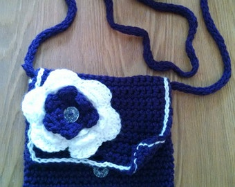 Cross Body Crochet Purse with Flower