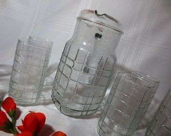 Iced Tea or Lemonade Pitcher and Set of 8 Glasses