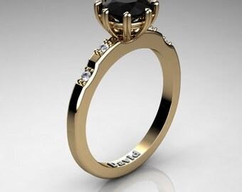 Classic 14K Yellow Gold 1 Carat Black Diamond Diamond Solitaire Engagement Ring R1005-14KYGDBD