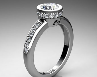 Classic 14K White Gold 1 Carat White Sapphire Diamond Solitaire Engagement Ring R1011-14KWGDWS