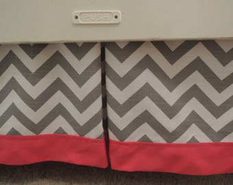 Gray Chevron Crib Skirt with Hot Pink Border and Center Pleat
