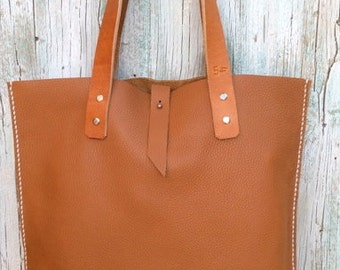 Shopping bag. Leather tote bag. Brown leather bag
