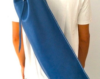 Yoga mat bag / Pilates Mat Bag / Yoga bag / Leather yoga bag/ Blue ready to ship