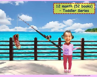 52x Personalized Children's Books with Photo- 12 month (52 titles) set of personalized kids eBooks for Toddlers with their photo and name.