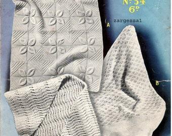 Vintage pram or cot cover PDF knitting pattern plus shawl pattern