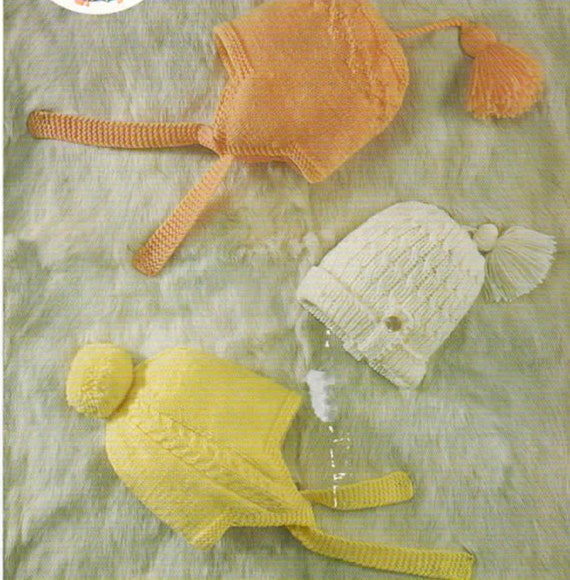 Easy Double Knitting Patterns : Easy Knit baby hats knitting Pattern PDF double knit wool
